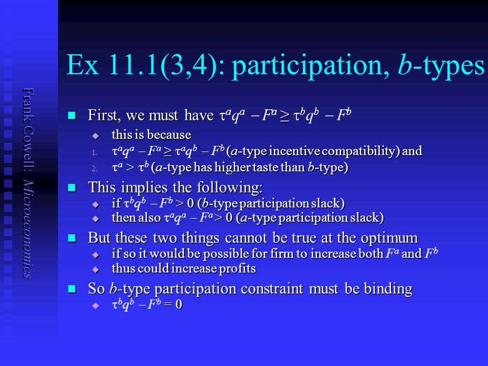 Frank Cowell: Microeconomics Ex 11.1(3,4): participation, b-types First, we must have ≥ First, we must have  a q a  F a ≥  b q b  F b  this is be