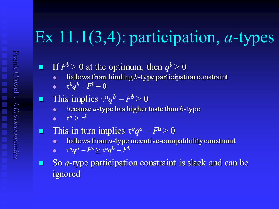 Frank Cowell: Microeconomics Ex 11.1(3,4): participation, a-types If > 0 at the optimum, then > 0 If F b > 0 at the optimum, then q b > 0  follows fr