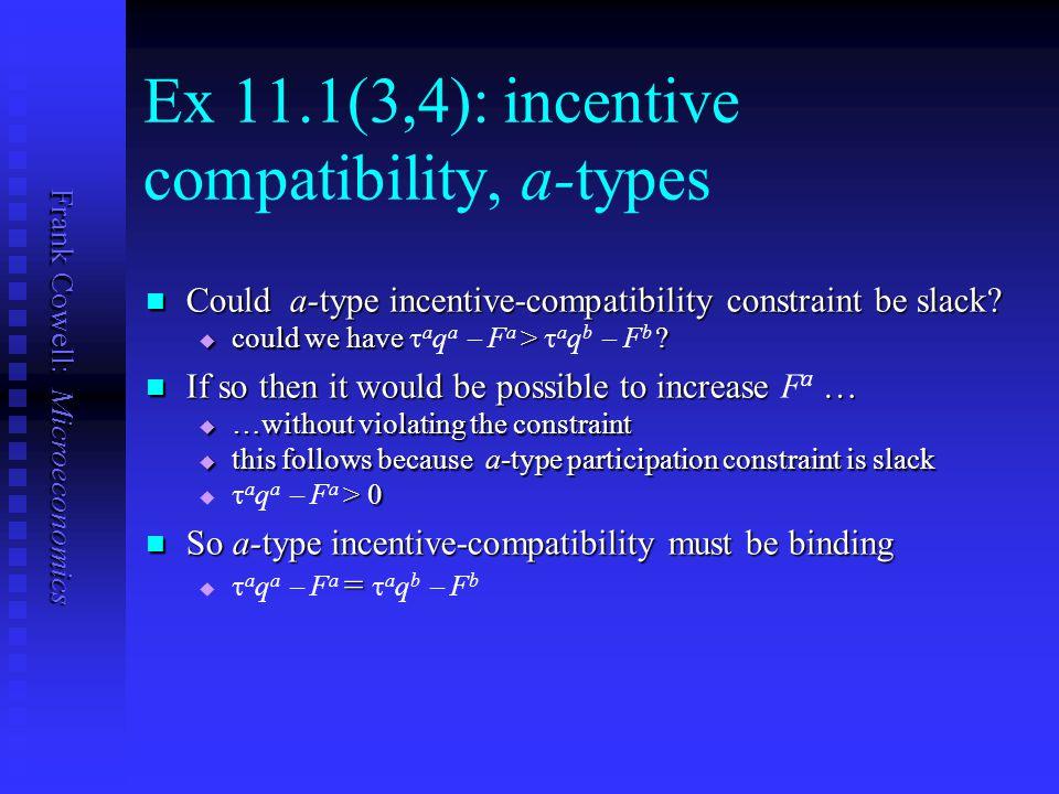 Frank Cowell: Microeconomics Ex 11.1(3,4): incentive compatibility, a-types Could a-type incentive-compatibility constraint be slack.