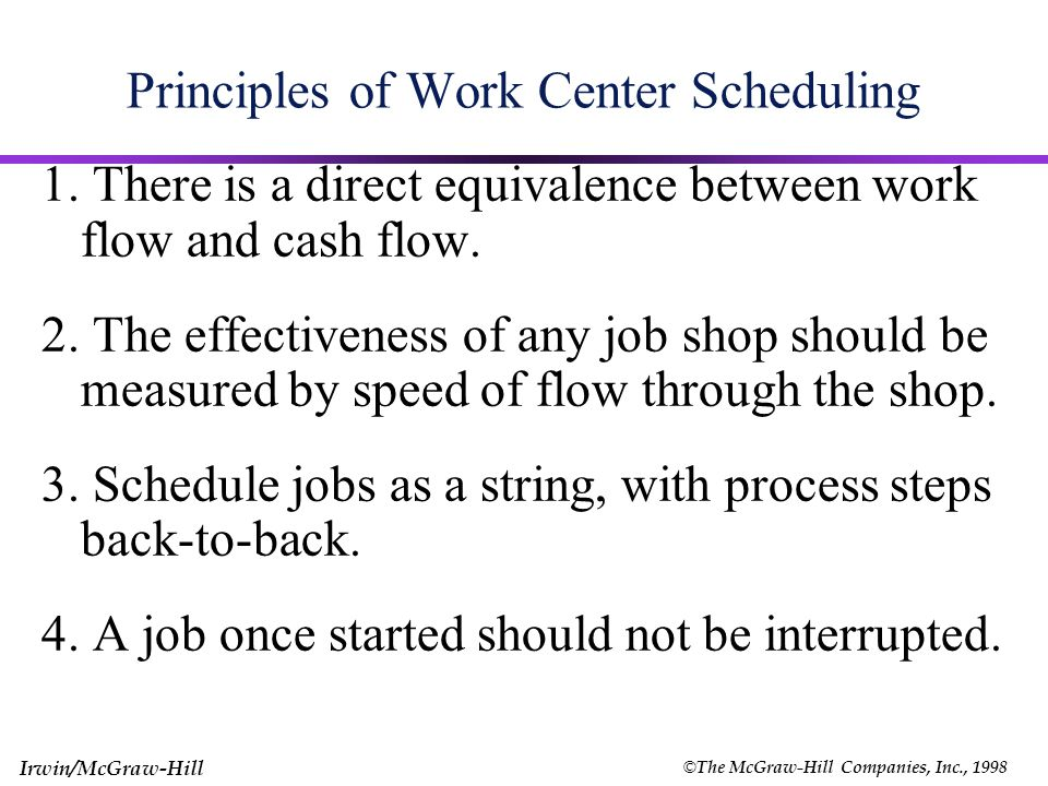 © The McGraw-Hill Companies, Inc., 1998 Irwin/McGraw-Hill 17 Principles of Work Center Scheduling Planned input should never exceed planned output (Exhibit 15.8) Focuses attention on bottleneck work centers InputOutput Work Center Input/Output Control