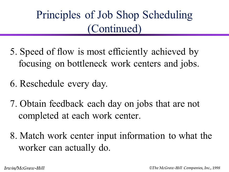 © The McGraw-Hill Companies, Inc., 1998 Irwin/McGraw-Hill Principles of Work Center Scheduling 1.