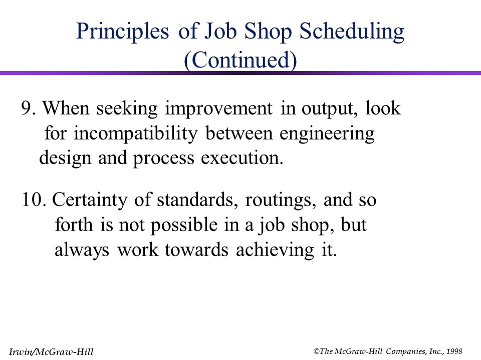 © The McGraw-Hill Companies, Inc., 1998 Irwin/McGraw-Hill Principles of Job Shop Scheduling (Continued) 5. Speed of flow is most efficiently achieved