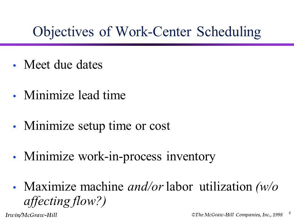 © The McGraw-Hill Companies, Inc., 1998 Irwin/McGraw-Hill 5 Typical Scheduling and Control Functions Allocating orders, equipment, and personnel to work centers (short run capacity planning) Determining the sequence of orders to be done (job priority) Initiating work of the scheduled orders (dispatching) Shop-floor control (Review Status and Expedite)