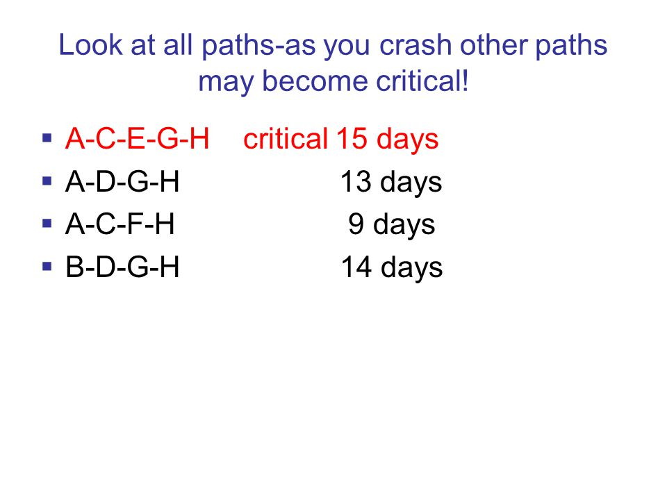 Look at all paths-as you crash other paths may become critical.