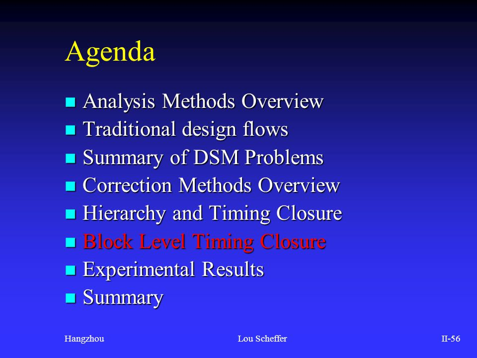 HangzhouLou SchefferII-56 Agenda n Analysis Methods Overview n Traditional design flows n Summary of DSM Problems n Correction Methods Overview n Hier