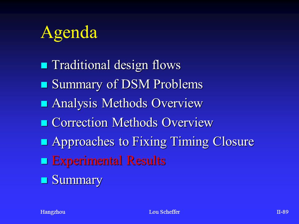 HangzhouLou SchefferII-89 Agenda n Traditional design flows n Summary of DSM Problems n Analysis Methods Overview n Correction Methods Overview n Appr