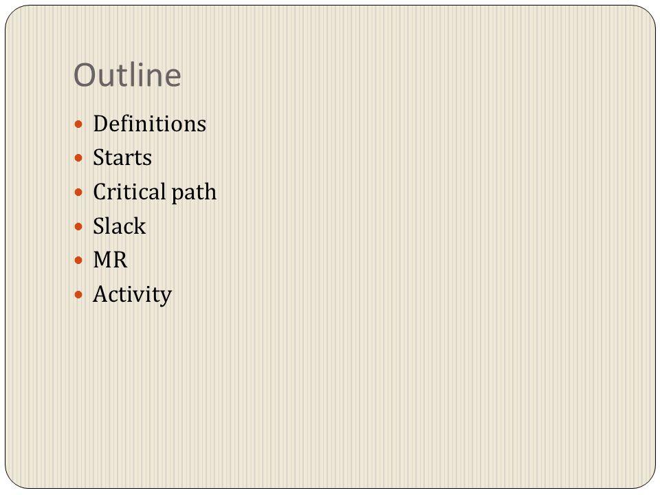 Outline Definitions Starts Critical path Slack MR Activity