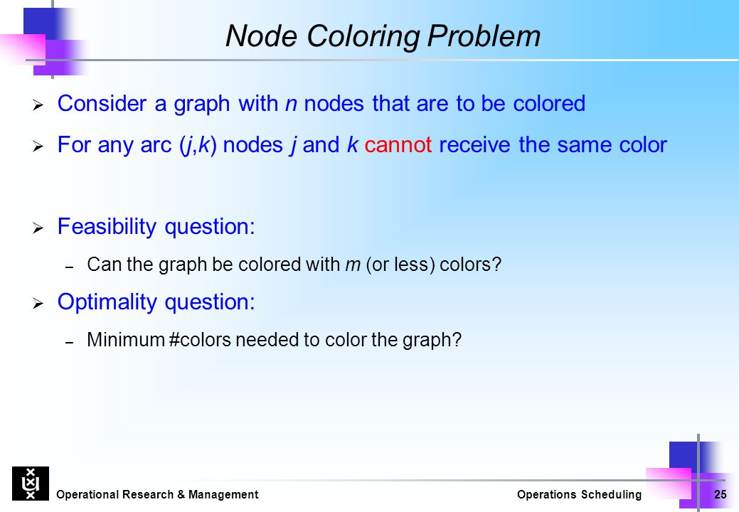 Operational Research & ManagementOperations Scheduling25 Node Coloring Problem  Consider a graph with n nodes that are to be colored  For any arc (j