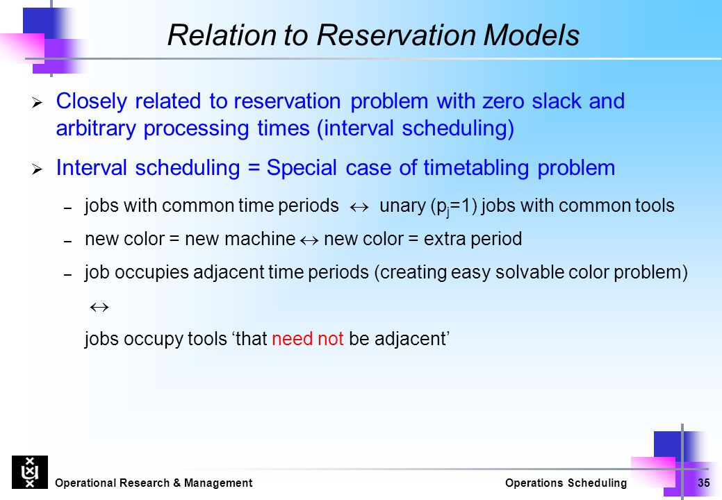 Operational Research & ManagementOperations Scheduling35 Relation to Reservation Models  Closely related to reservation problem with zero slack and a