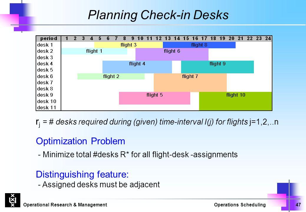 Operational Research & ManagementOperations Scheduling47 Planning Check-in Desks Optimization Problem - Minimize total #desks R* for all flight-desk -assignments Distinguishing feature: - Assigned desks must be adjacent r j = # desks required during (given) time-interval I(j) for flights j=1,2,..n
