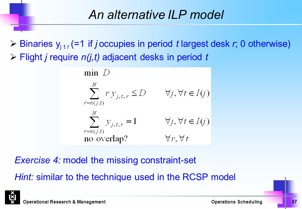 Operational Research & ManagementOperations Scheduling57 An alternative ILP model  Binaries y j t r (=1 if j occupies in period t largest desk r; 0 o