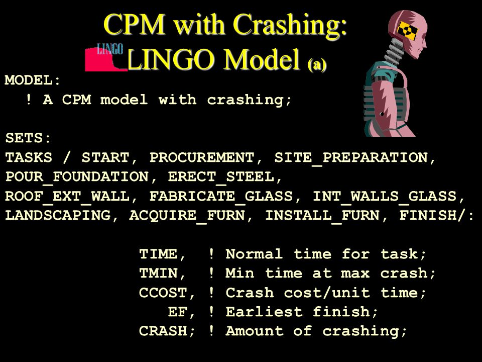 CPM with Crashing: LINGO Model (a) MODEL: .