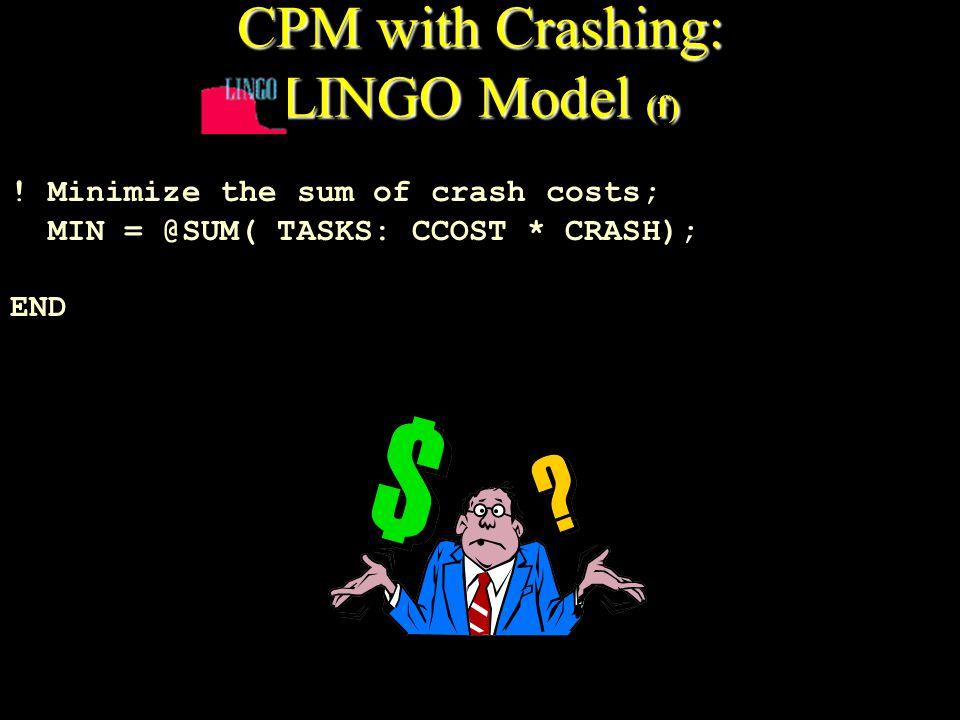 CPM with Crashing: LINGO Model (f) ! Minimize the sum of crash costs; MIN = @SUM( TASKS: CCOST * CRASH); END