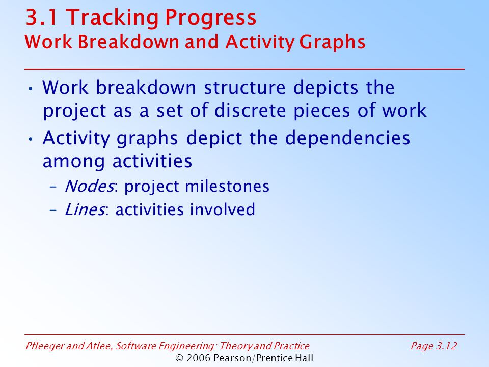 Pfleeger and Atlee, Software Engineering: Theory and PracticePage 3.12 © 2006 Pearson/Prentice Hall 3.1 Tracking Progress Work Breakdown and Activity Graphs Work breakdown structure depicts the project as a set of discrete pieces of work Activity graphs depict the dependencies among activities –Nodes: project milestones –Lines: activities involved