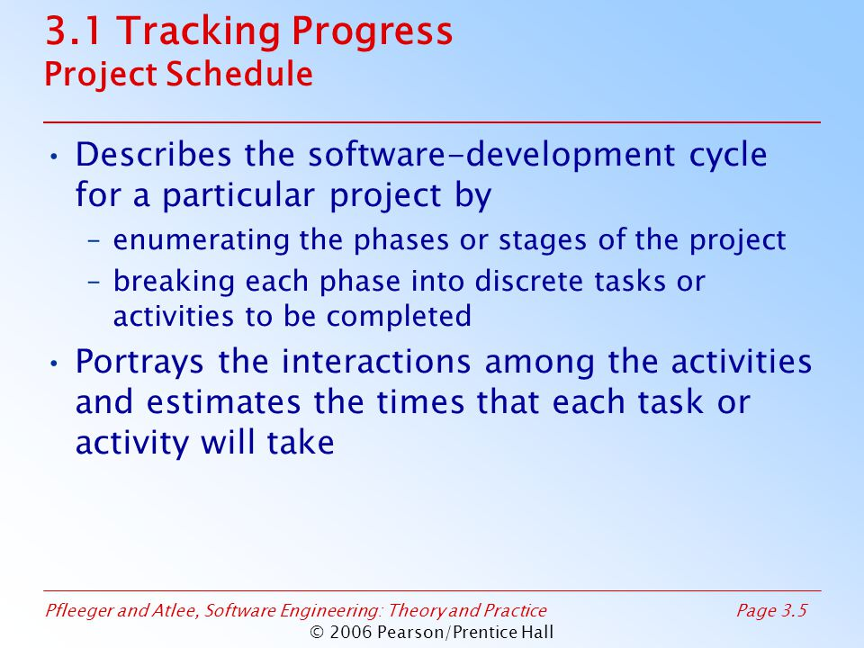 Pfleeger and Atlee, Software Engineering: Theory and PracticePage 3.6 © 2006 Pearson/Prentice Hall 3.1 Tracking Progress Project Schedule: Approach Understanding customer's needs by listing all project deliverables –Documents –Demonstrations of function –Demonstrations of subsystems –Demonstrations of accuracy –Demonstrations of reliability, performance or security Determining milestones and activities to produce the deliverables
