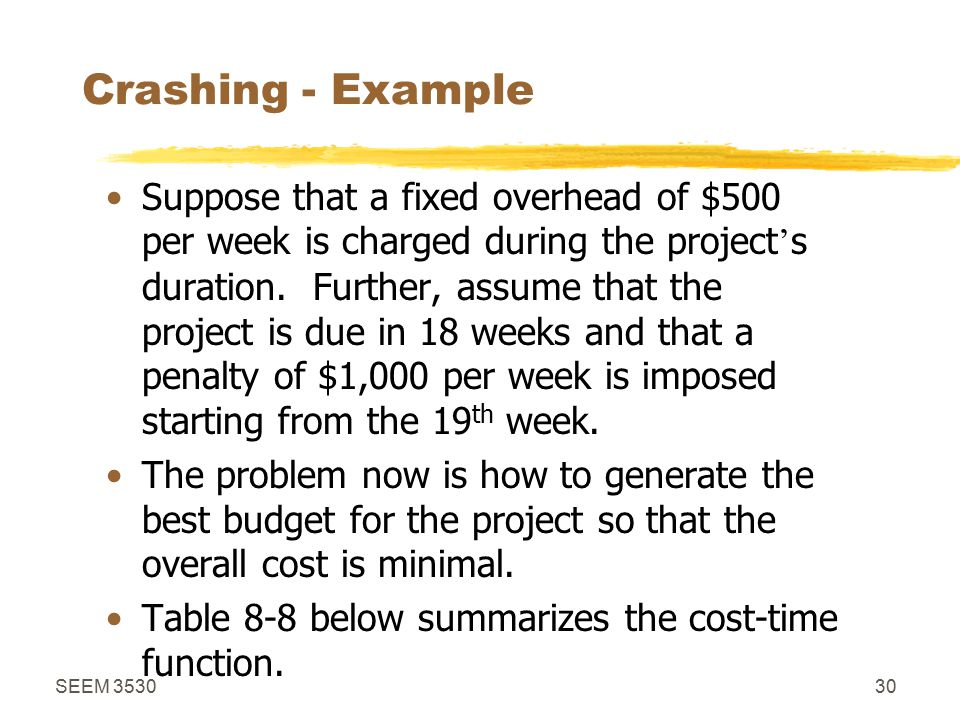 SEEM 353030 Crashing - Example Suppose that a fixed overhead of $500 per week is charged during the project ' s duration.