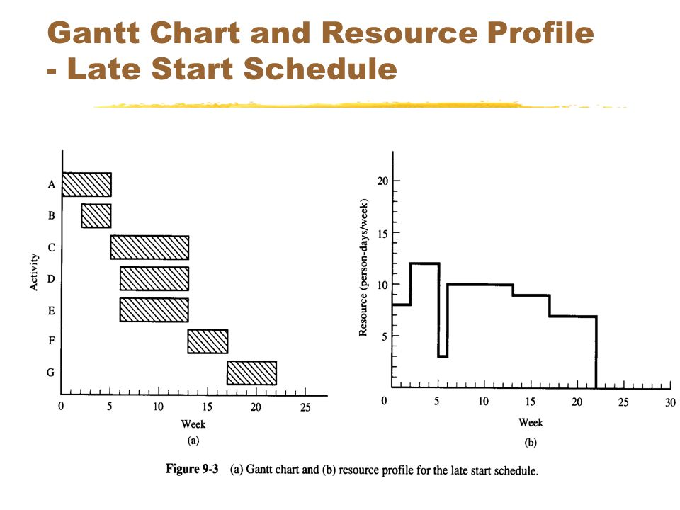 SEEM 353041 Gantt Chart and Resource Profile - Late Start Schedule