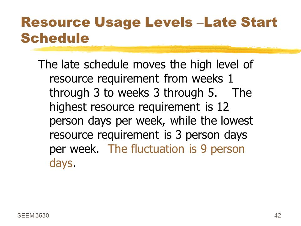 SEEM 353042 Resource Usage Levels – Late Start Schedule The late schedule moves the high level of resource requirement from weeks 1 through 3 to weeks 3 through 5.