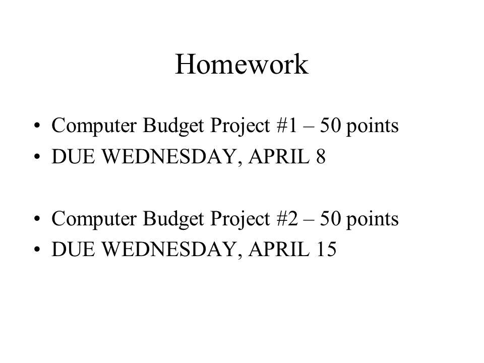 Homework Computer Budget Project #1 – 50 points DUE WEDNESDAY, APRIL 8 Computer Budget Project #2 – 50 points DUE WEDNESDAY, APRIL 15