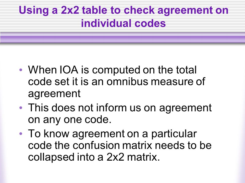 Using a 2x2 table to check agreement on individual codes When IOA is computed on the total code set it is an omnibus measure of agreement This does no