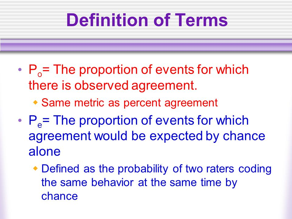 Definition of Terms P o = The proportion of events for which there is observed agreement.