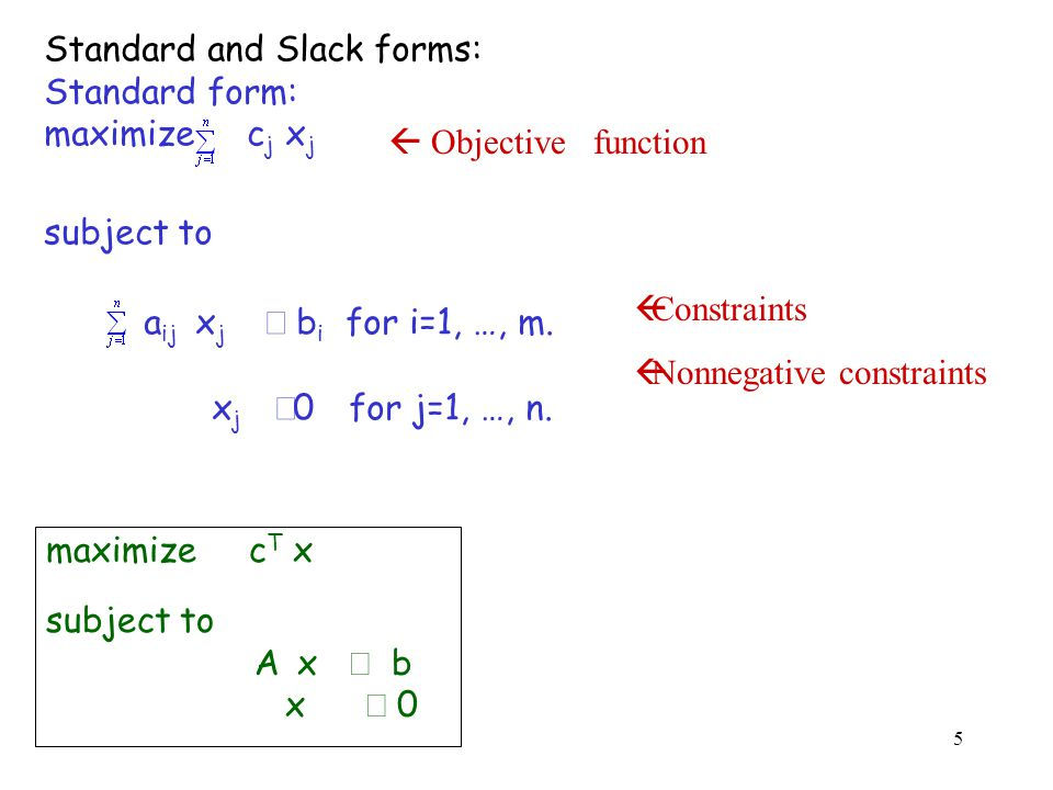 16 Slack form: z = 3 x 1 + x 2 + 2x 3 x 4 = 30 - x 1 - x 2 - 3 x 3 x 5 = 24 - 2x 1 - 2x 2 - 5x 3 x 6 = 36 - 4x 1 - x 2 - 2x 3 x 1 : entering variable, x 6 : leaving variable.