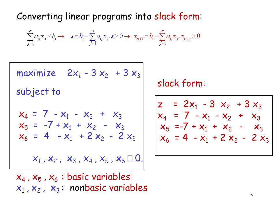 9 Converting linear programs into slack form: maximize 2x 1 - 3 x 2 + 3 x 3 subject to x 4 = 7 - x 1 - x 2 + x 3 x 5 = -7 + x 1 + x 2 - x 3 x 6 = 4 - x 1 + 2 x 2 - 2 x 3 x 1, x 2, x 3, x 4, x 5, x 6  0.