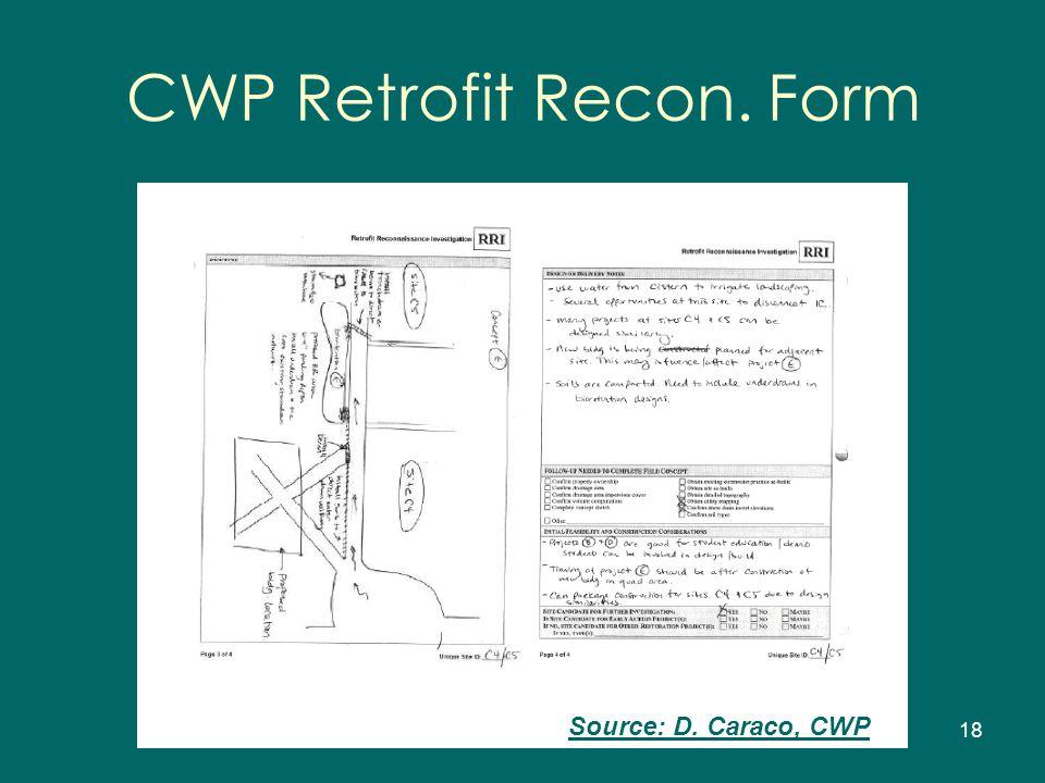 18 Source: D. Caraco, CWP CWP Retrofit Recon. Form