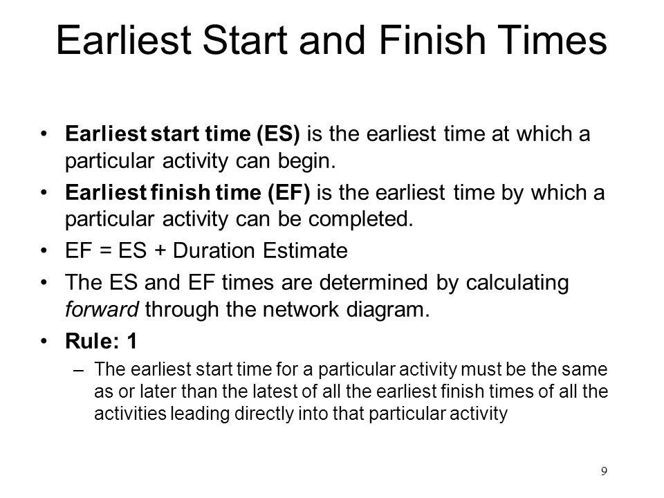 Earliest Start Times