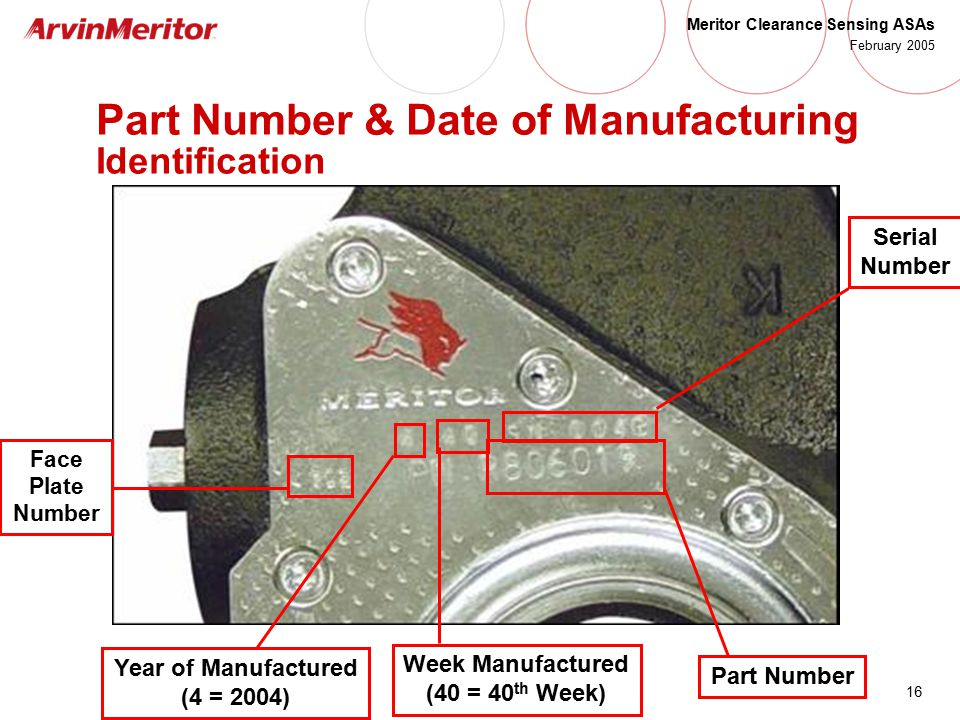 16 Meritor Clearance Sensing ASAs February 2005 Part Number & Date of Manufacturing Identification Year of Manufactured (4 = 2004) Week Manufactured (