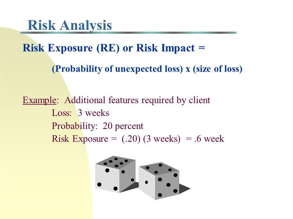 Risk Management All projects involve some degree of risk Need to identify all possible risks and outcomes Need to identify person(s) responsible for m