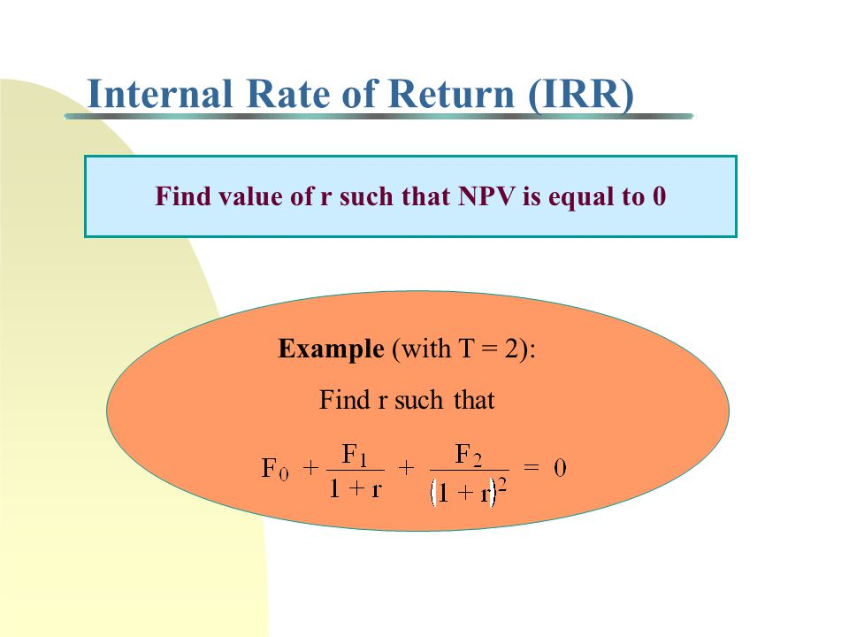 Net Present Value (NPV) Discounted Cash Flow (DCF) Let F t = net cash flow in period t (t = 0, 1,..., T) F 0 = initial cash investment in time t = 0 r