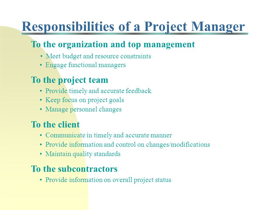 Role of Project Manager/Team Project Manager Client Subcontractors Regulating Organizations Project Team Functional Managers Top Management