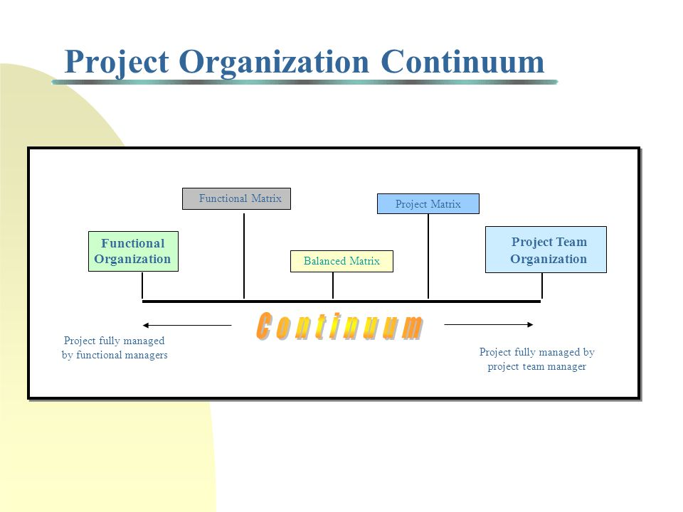 Project Organization Types Functional : Project is divided and assigned to appropriate functional entities with the coordination of the project being carried out by functional and high-level managers Functional matrix : Person is designated to oversee the project across different functional areas Balanced matrix : Person is assigned to oversee the project and interacts on equal basis with functional managers Project matrix : A manager is assigned to oversee the project and is responsible for the completion of the project Project team : A manager is put in charge of a core group of personnel from several functional areas who are assigned to the project on a full-time basis