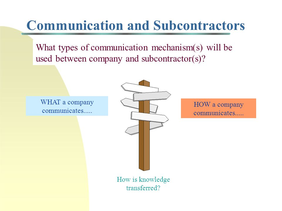 Subcontracting = Business Alliance n When you subcontract part (or all) of a project, you are forming a business alliance....