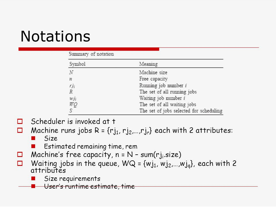Notations  Scheduler is invoked at t  Machine runs jobs R = {rj 1, rj 2,…,rj r } each with 2 attributes: Size Estimated remaining time, rem  Machine's free capacity, n = N – sum(rj i.size)  Waiting jobs in the queue, WQ = {wj 1, wj 2,…,wj q }, each with 2 attributes Size requirements User's runtime estimate, time