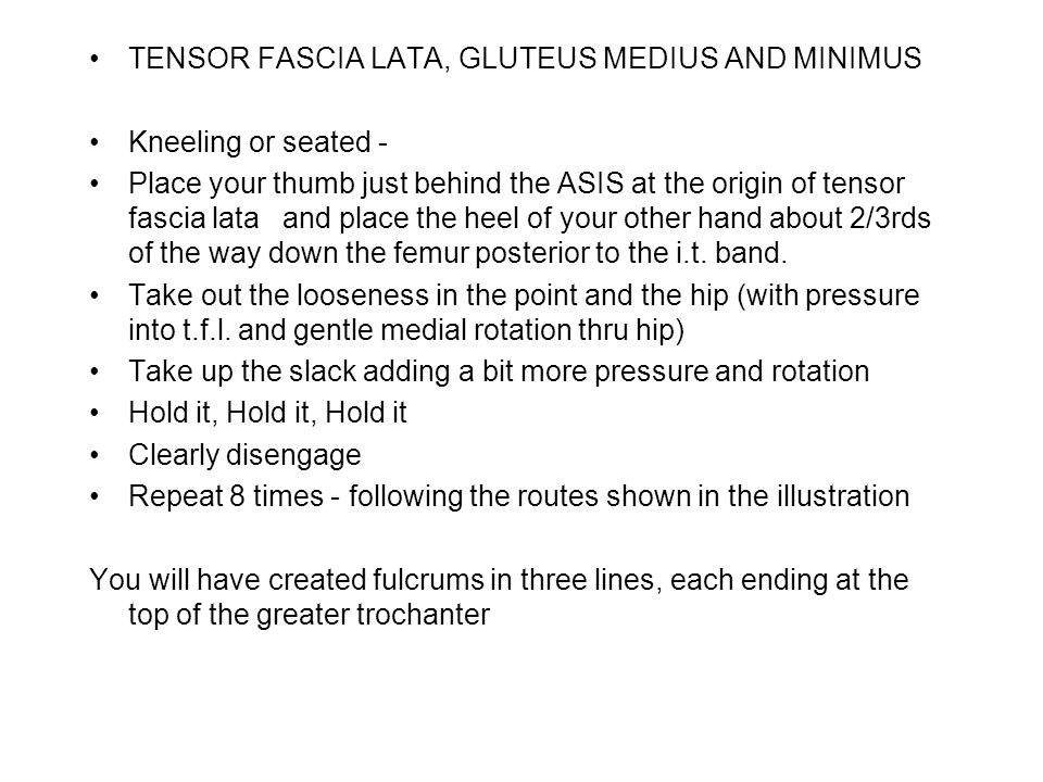 TENSOR FASCIA LATA, GLUTEUS MEDIUS AND MINIMUS Kneeling or seated - Place your thumb just behind the ASIS at the origin of tensor fascia lata and place the heel of your other hand about 2/3rds of the way down the femur posterior to the i.t.