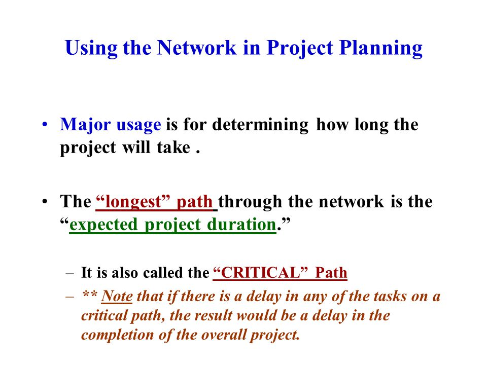 Using the Network in Project Planning Major usage is for determining how long the project will take.