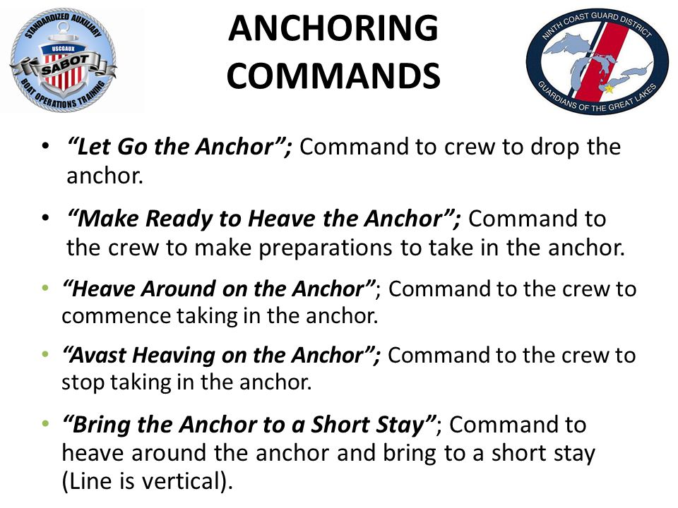 ANCHORING COMMANDS Anchor Line is Tending at ___ O'clock Under (Light, Moderate or Heavy Strain) ; Reference point passed from crew to coxswain as to what direction the anchor line tends including degree of strain.
