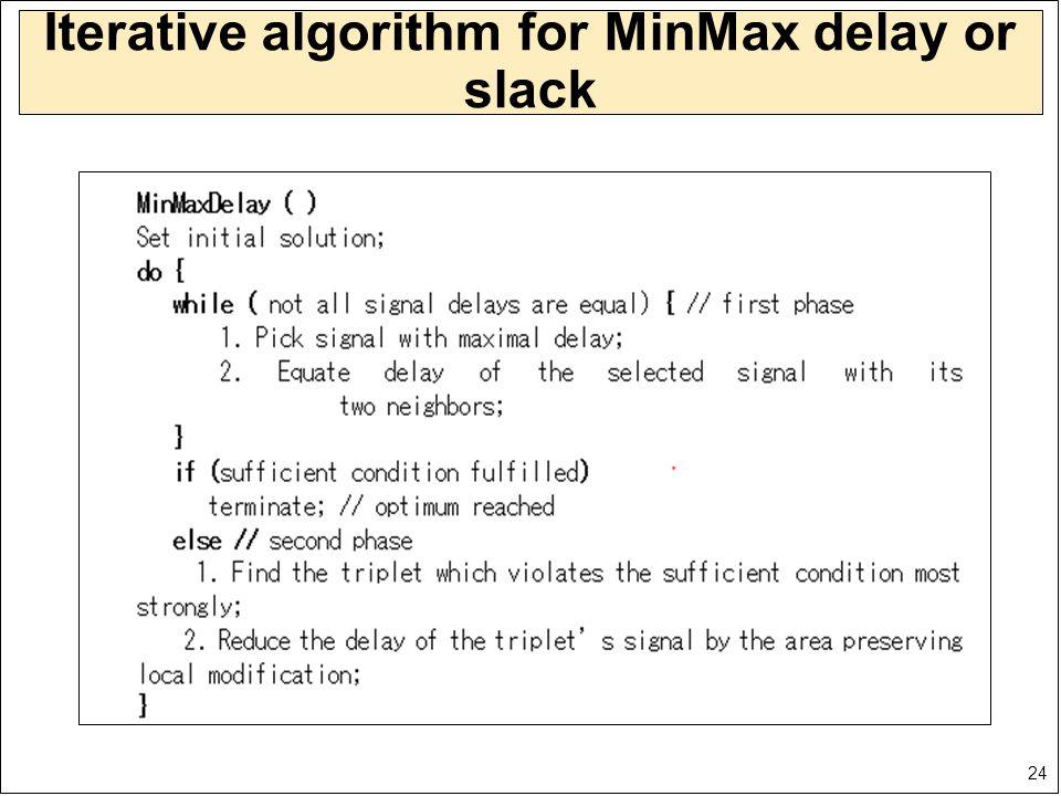 24 Iterative algorithm for MinMax delay or slack