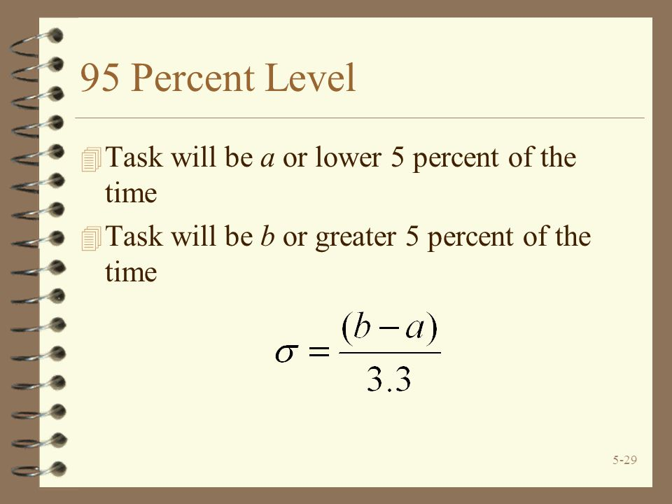 5-29 95 Percent Level 4 Task will be a or lower 5 percent of the time 4 Task will be b or greater 5 percent of the time
