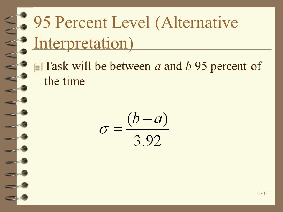 5-31 95 Percent Level (Alternative Interpretation) 4 Task will be between a and b 95 percent of the time