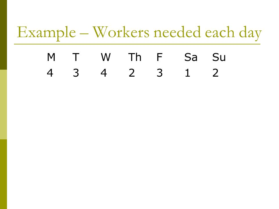 Example – Workers needed each day MTWThFSaSu 4342312