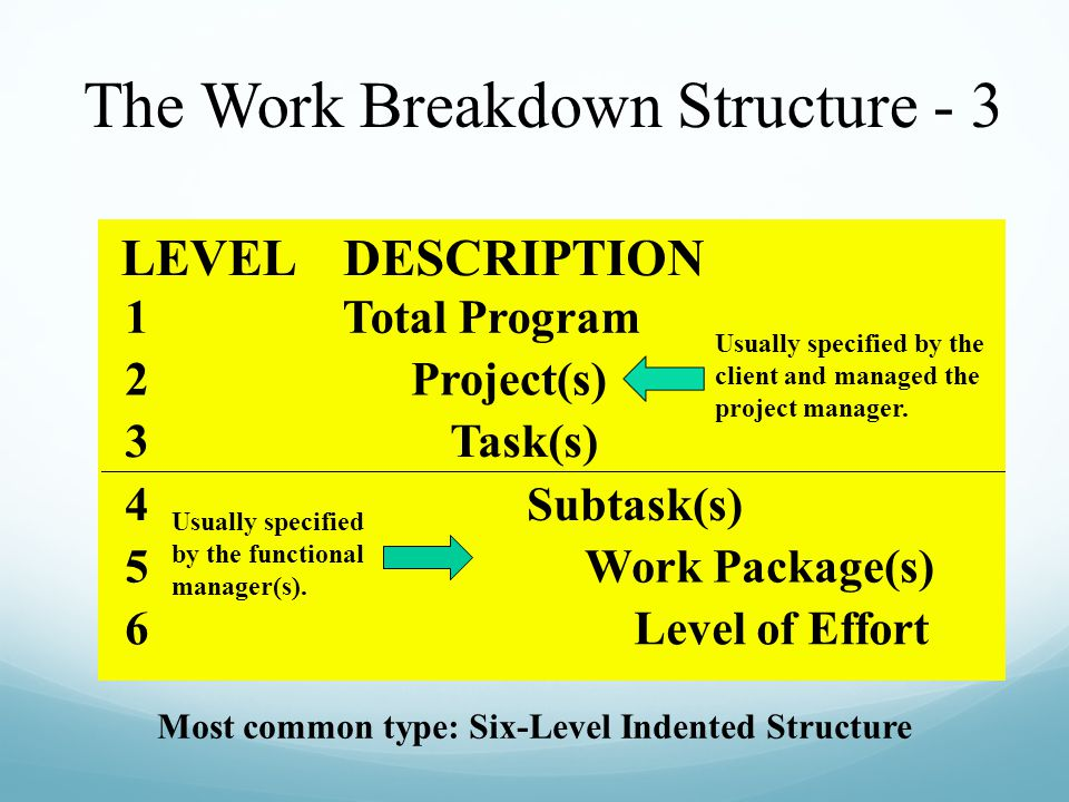 Most common type: Six-Level Indented Structure LEVELDESCRIPTION 1Total Program 2Project(s) 3Task(s) 4Subtask(s) 5Work Package(s) 6Level of Effort Usua