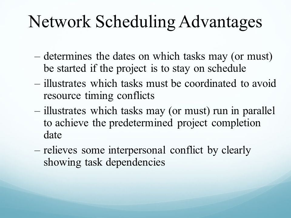 –determines the dates on which tasks may (or must) be started if the project is to stay on schedule –illustrates which tasks must be coordinated to av