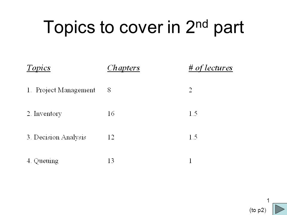 1 Topics to cover in 2 nd part ( to p2)
