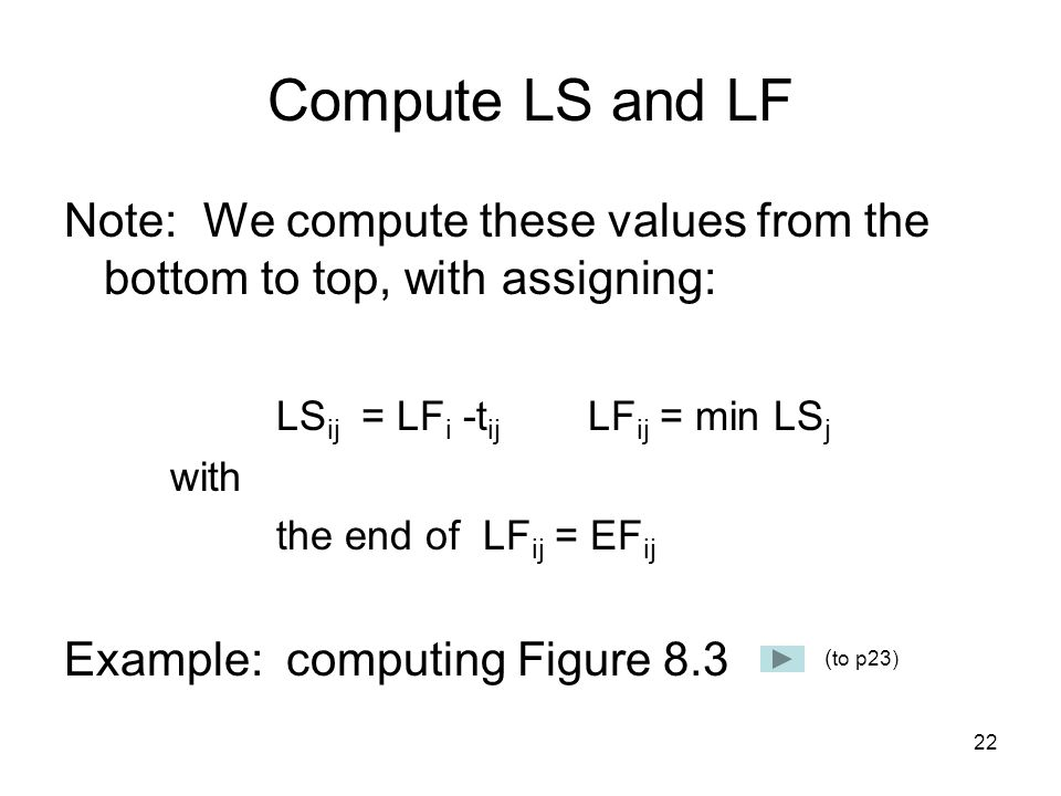 22 Compute LS and LF Note: We compute these values from the bottom to top, with assigning: LS ij = LF i -t ij LF ij = min LS j with the end of LF ij = EF ij Example: computing Figure 8.3 ( to p23)