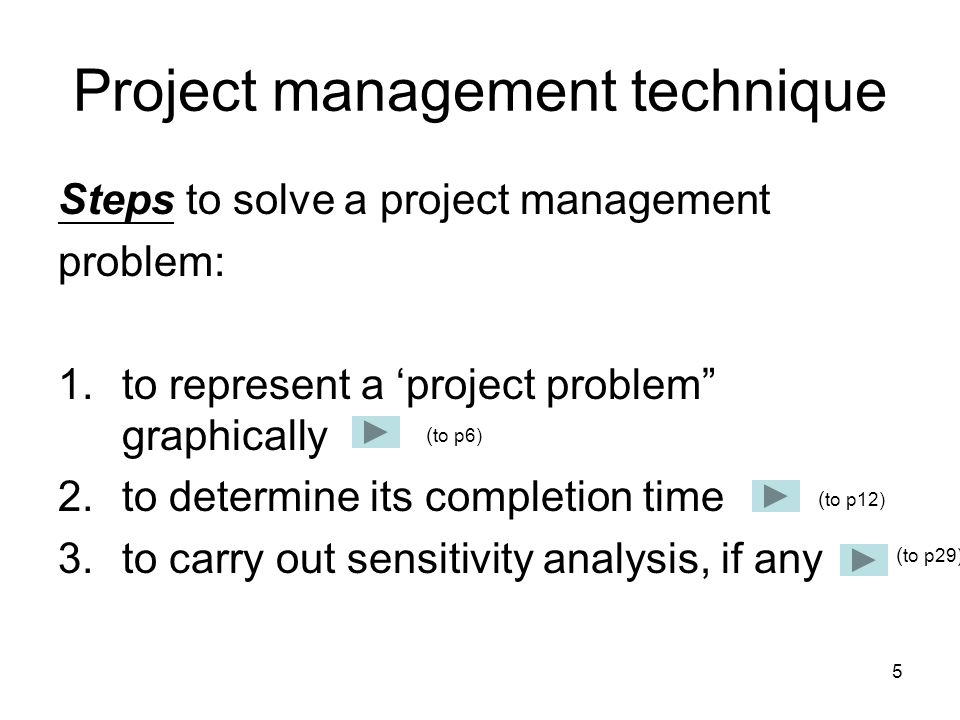 5 Project management technique Steps to solve a project management problem: 1.to represent a 'project problem graphically 2.to determine its completion time 3.to carry out sensitivity analysis, if any ( to p6) ( to p12) ( to p29)