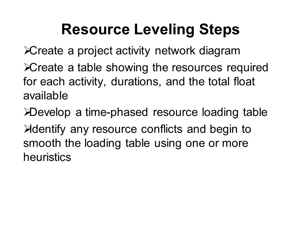 Resource Leveling Steps  Create a project activity network diagram  Create a table showing the resources required for each activity, durations, and the total float available  Develop a time-phased resource loading table  Identify any resource conflicts and begin to smooth the loading table using one or more heuristics