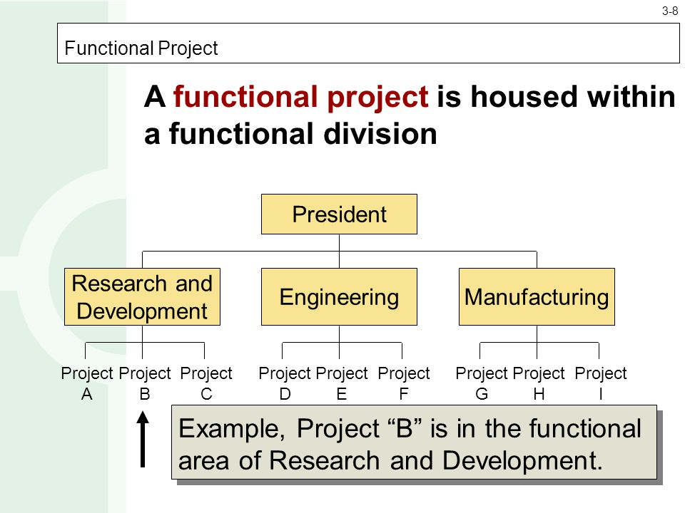 Functional Project President Research and Development EngineeringManufacturing Project A Project B Project C Project D Project E Project F Project G Project H Project I A functional project is housed within a functional division Example, Project B is in the functional area of Research and Development.